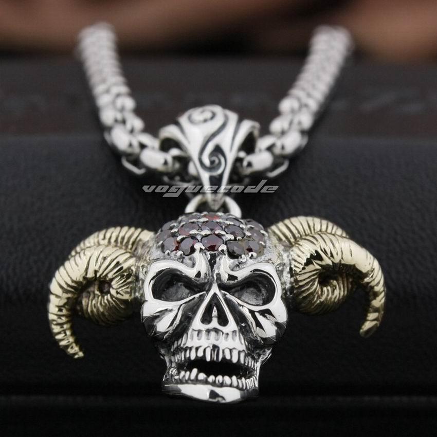 925 Sterling Silver Devil Goat Skull Pendant Red CZ Head Brass Horn Biker Punk Style 8N021