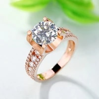 solid 18k rose gold 1ct au750 bull head round brilliant cut moissanite ring lab diamond engagement ring for women