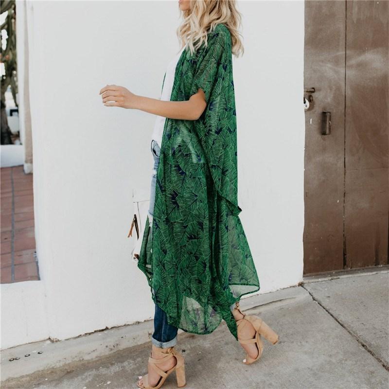 Verano Mujer Casual gasa Blusas Kimono verde estampado Blusas tipo Kimono Cardigan