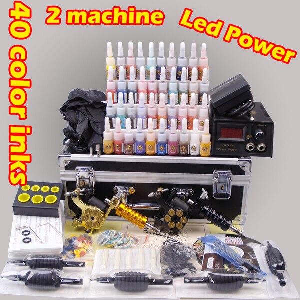 Conjunto de máquina de tatuaje profesional Caja de Herramientas completa interruptor de tinta de potencia punta de aguja kit pintura corporal de tatuaje suministros de tatuaje