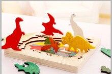 En bois multi-dimensionnel conteur puzzle cube 3 couches histoire dessin animé dinosaure Animal début éducatif Montessori jouets