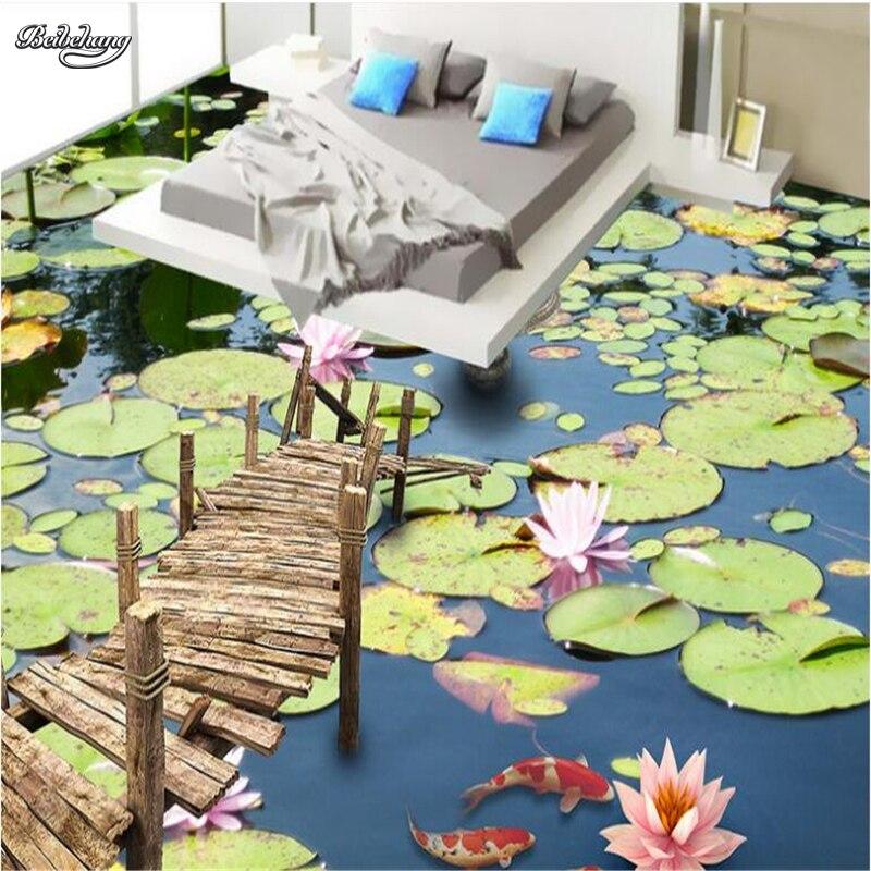 Beibehang, murales personalizados de gran escala, estanque de alta definición, laca de agua, suelo 3D, gruesa, impermeable, película de desgaste de pvc