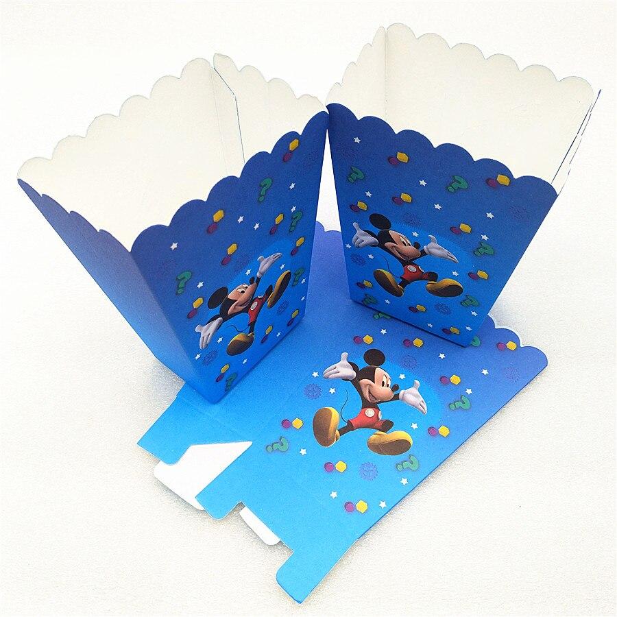 6 pçs/lote Mickey Mouse Fontes Do Partido Caixa de Pipoca Caixa de Presente Caixa De Doces De Aniversário Fontes Do Partido Do Chuveiro Do Bebê Favores Do Partido Acessório