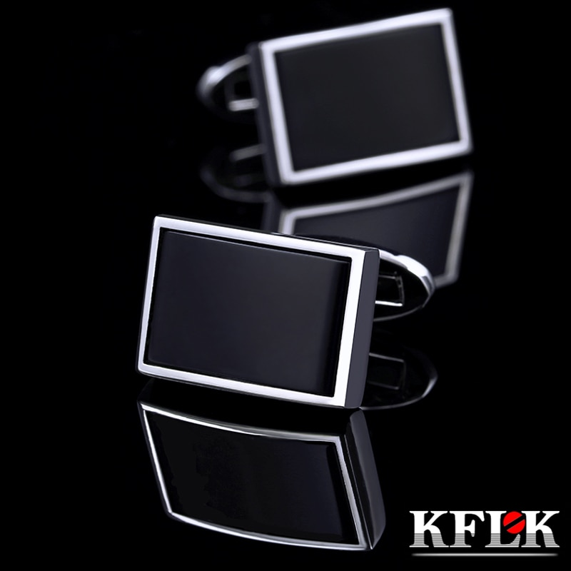 KFLK joyería camisa gemelos de moda para hombres marca negro puño botones de enlaces alta calidad boda fiesta regalos para invitados