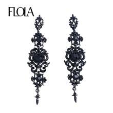 FLOLA Vintage Black Earrings with Stones Long Chandelier Drop Earrings Gothic Fashion Jewelry Earrings for Women ersk02