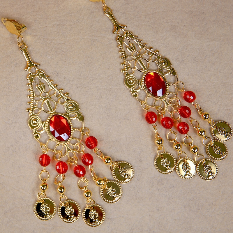 Bollywood Earrings 1-pair Indian Dance Costume Accessories Earrings With Red Rhinestones Indian Jewelry For Adult rendezvous with ancient indian society