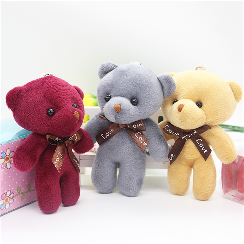 30 Uds 12cm pequeños osos de peluche decoración para llaves cadena Anime colgante juguetes de peluche rosa gris marrón colorido oso Peluches