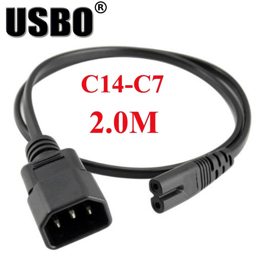 Schwarz 2,0 mt PVC Kupfer CE zertifizierung IEC320 C14 zu C7 verlängerungskabel hohe qualität chassis schrank PDU/UPS server power kabel