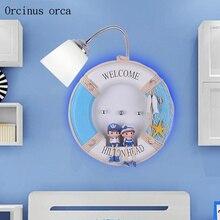 La méditerranée natation anneau applique murale chambre denfants garçons et filles chambre lampe de chevet créatif dessin animé mur LED lampe