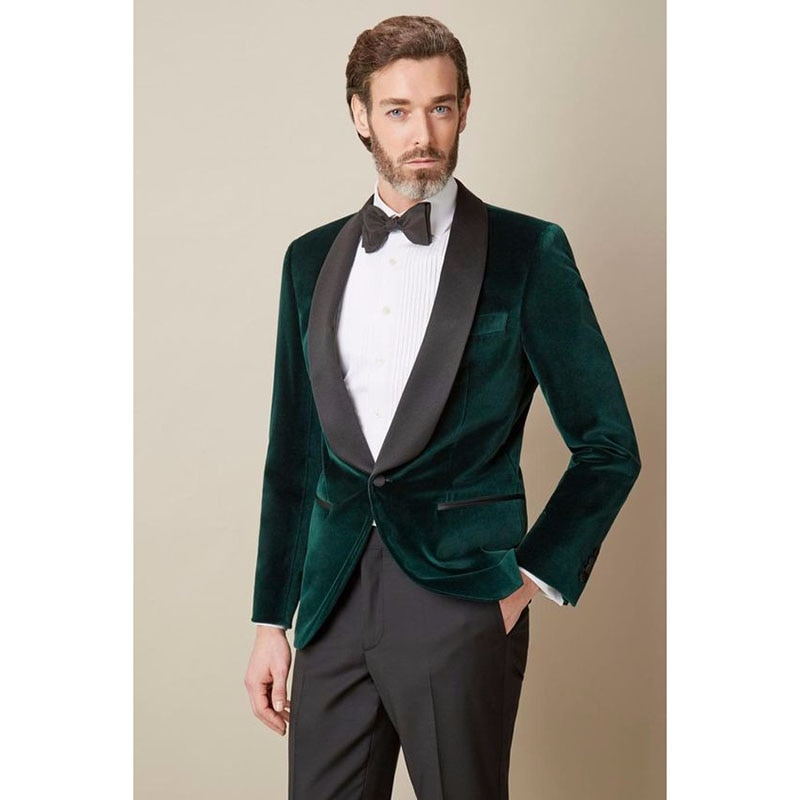 Veludo verde escuro 2017 nova marca terno masculino sob medida xale collar um botão ternos dos homens moda terno smoking (jaqueta + calças bowtie)