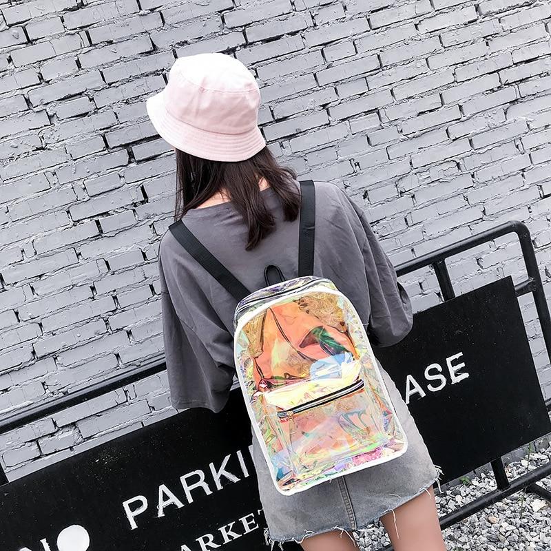 Transparent Holographic Backpacks Korean Style Small Backpack For Girls Shining Hologram Shoulder bags Mochilas Feminina