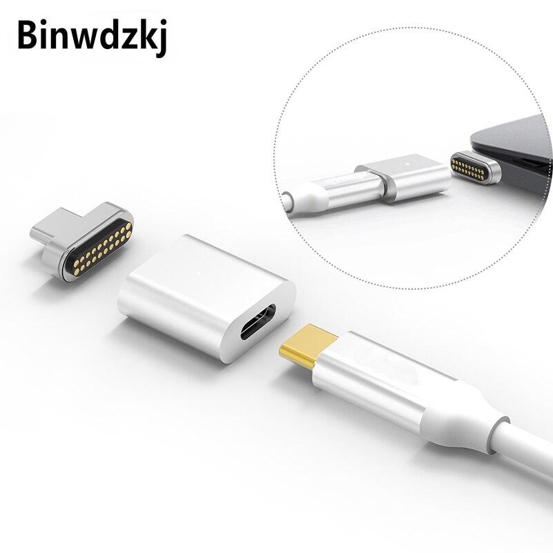 Convertidor de cargador adaptador magnético tipo C a tipo C para Apple MacBook Pro Samsung S8 S9 adaptador de Cable de USB-C magnético de carga rápida