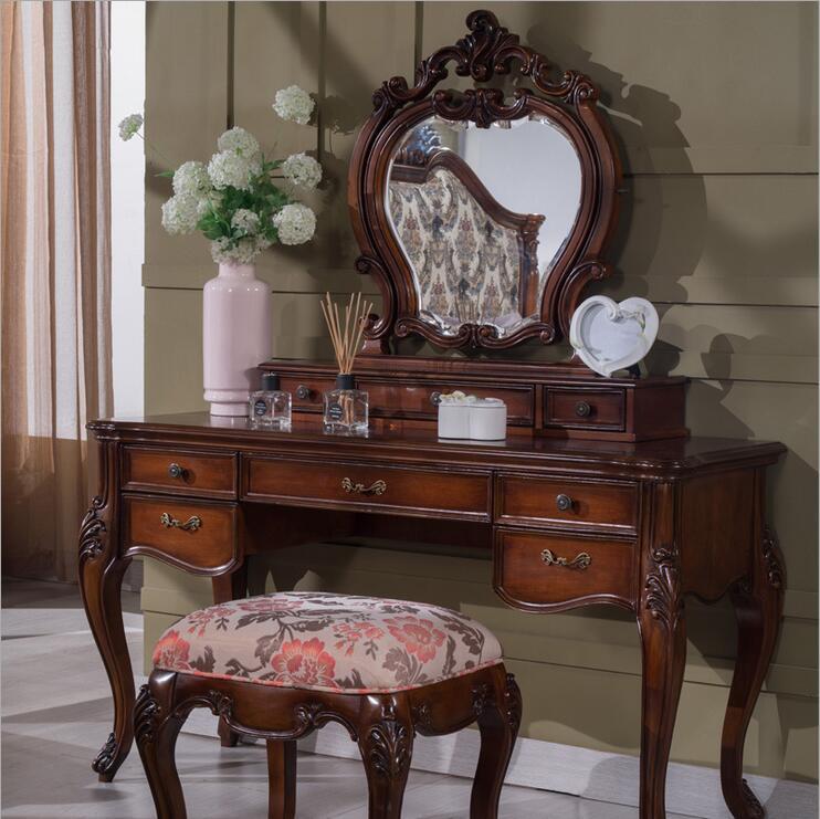 Europeu espelho de mesa antigo quarto cômoda francês móveis penteadeira francês p10290