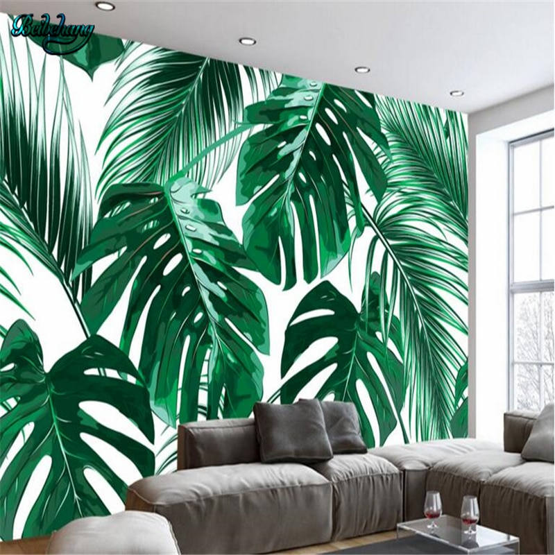 Beibehang Moderna minimalista fresco floresta planta folha de bananeira idílicas murais sala de estar sofá fundo da parede de televisão