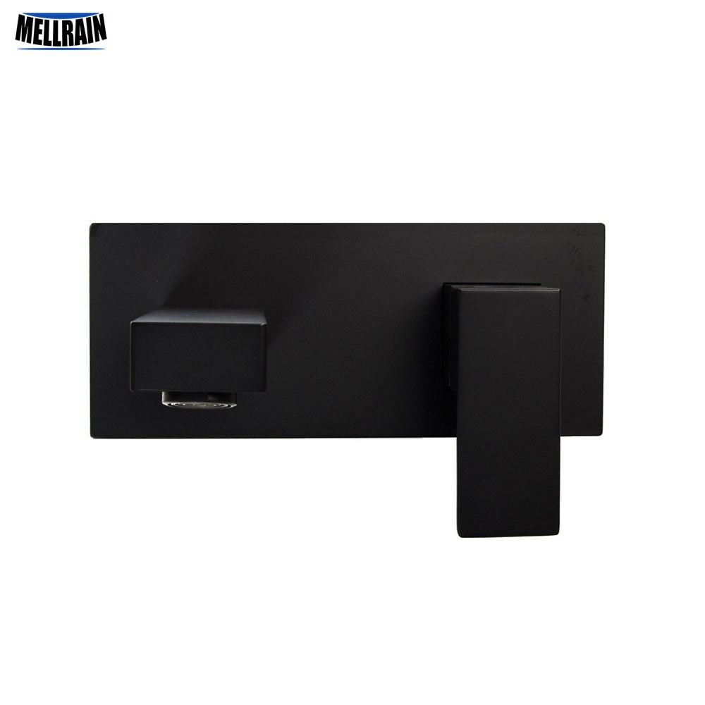 حنفية حوض استحمام مثبتة على الحائط بتصميم مربع مطلي باللون الأسود خلاط مياه نحاسي عالي الجودة للمياه الباردة والساخنة