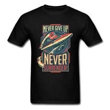 Ne jamais abandonner jamais se rendre Star Wars T-shirt 80s T-shirt cadeau petit ami T-shirt hommes coton vêtements haut Vintage t-shirts noirs