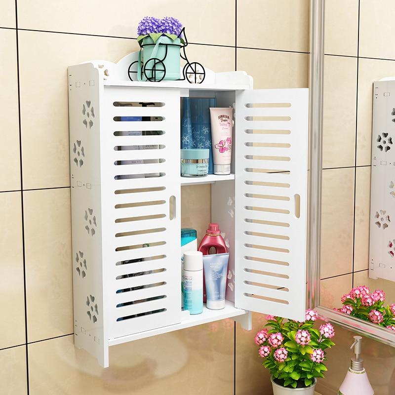 خزانة حمام خشبية ، خزانة تخزين مثبتة على الحائط مع قفل مزدوج للأبواب ، بدون ثقب