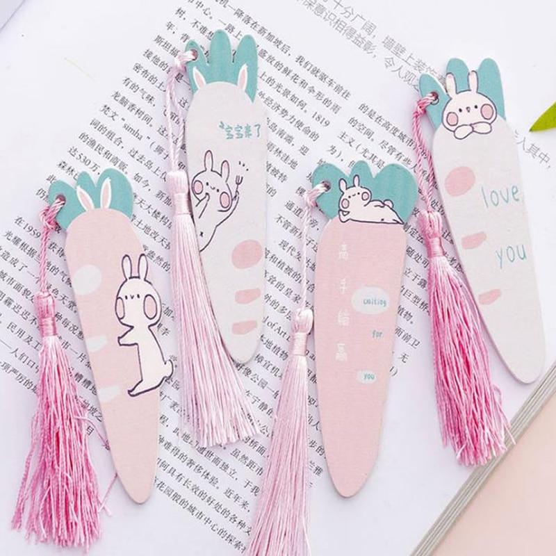 1 Uds., marcapáginas con borlas de zanahoria y conejo Kawaii para Marcadores de libro, lindas reglas de madera con animales, punto de libro, regalo de escuela, regalo de oficina estacionario