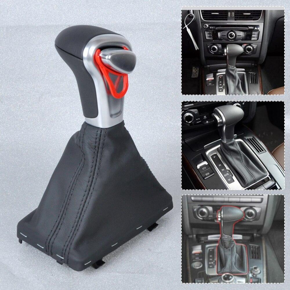 CITALL de plata automática de turno mando + negro PU polaina de cuero para Audi A3 A4 A5 A6 Q7 Q5 2004 ~ 2010, 2011, 2012, 2013, 2014, 2015