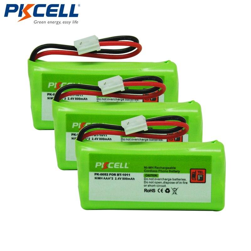 Аккумуляторная батарея PKCELL для телефона, 3 шт., замена батареи AAA 800 мАч 2,4 В для Uniden BT-1011 BT1011 Vtech BT184342 BT18433