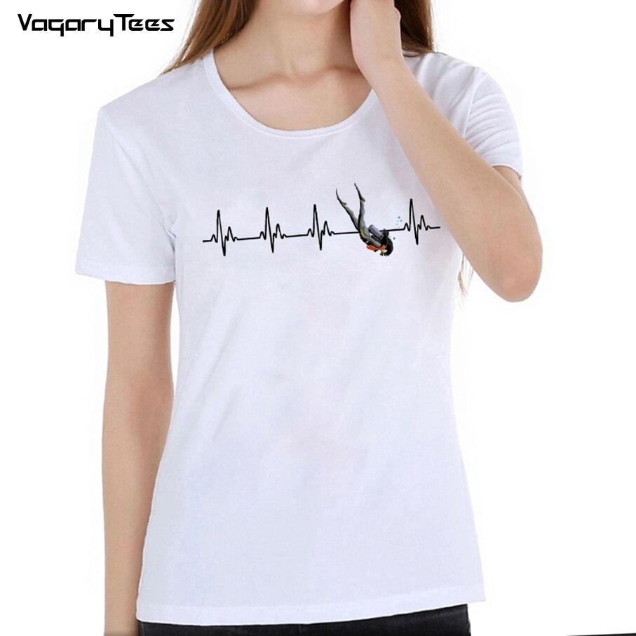 Camiseta Vagarytees 2019 de manga corta con diseño de corazón de buceo para mujer