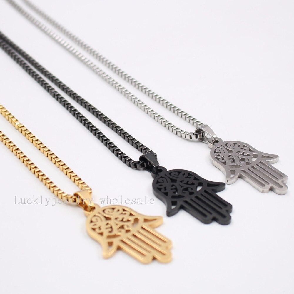 black Stainless Steel Fashion Hamsa Hand of Love Wisdom Forgiveness Pendant Box chain necklace 2.4mm 24 inch