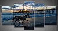 5 panel wall art horse running on a beach near a wooden pier sunset blue water painting pictures print on canvas painting