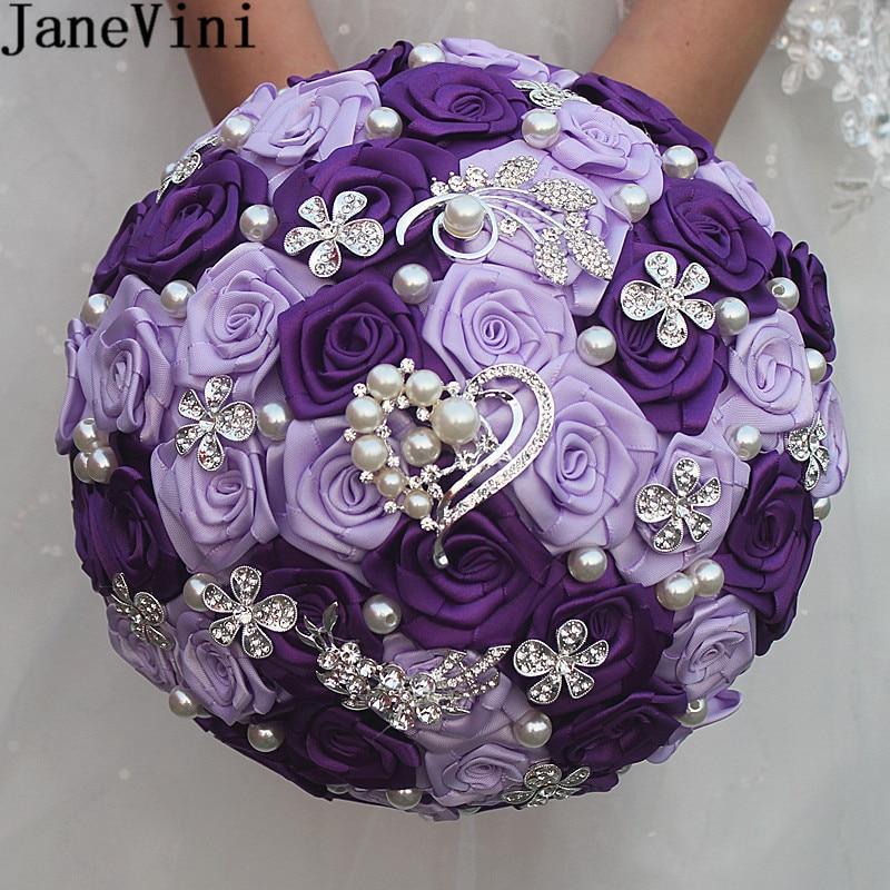 JaneVini-باقة زفاف فاخرة من الورد الأرجواني ، للعرائس ، كريستال ساتان ، لؤلؤ صناعي ، بروش زفاف ، باقة خرز