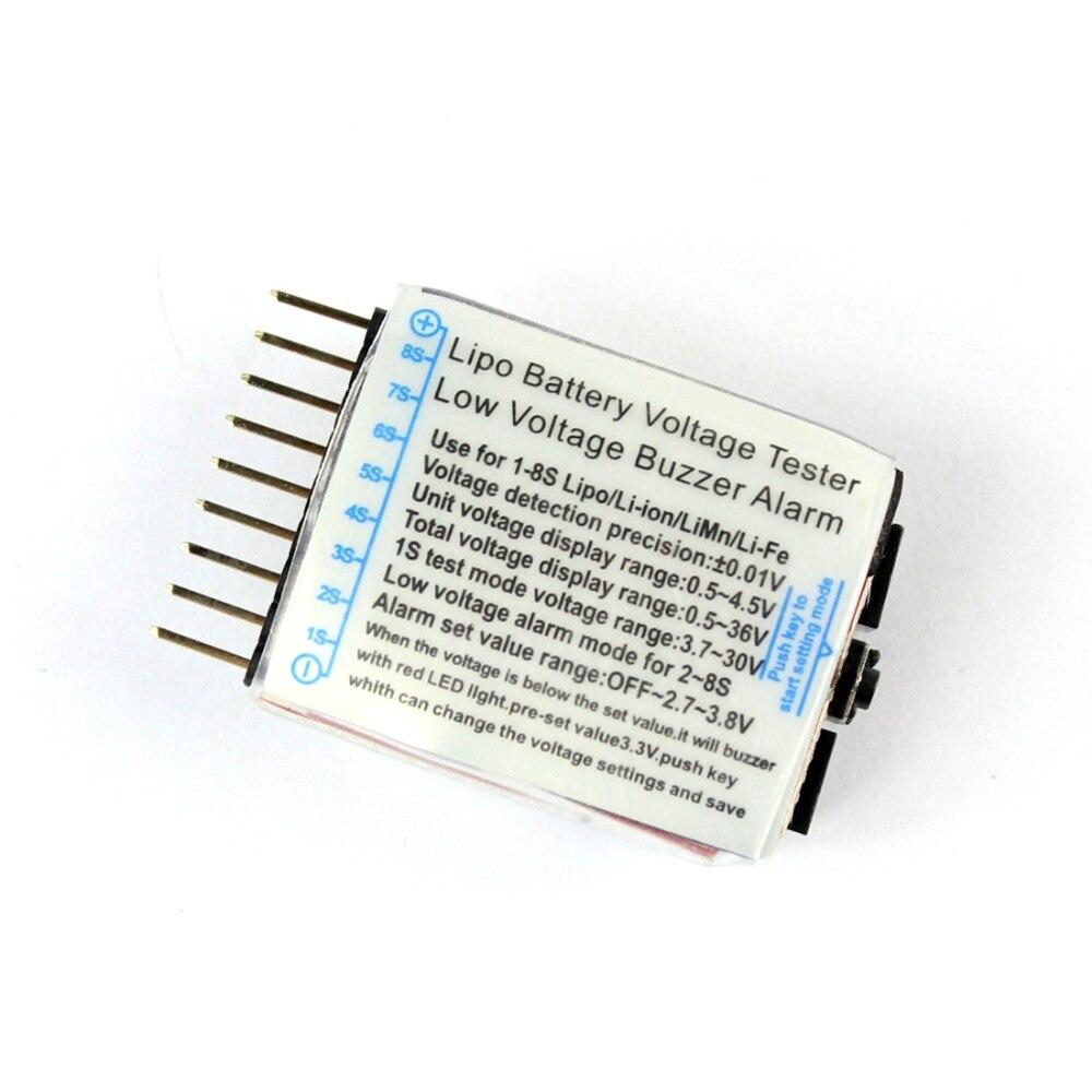 2 en 1 voltímetro verificador indicador Lipo batería voltaje probador altavoz Dual 1-8S baja tensión zumbador alarma 2S 3S 4S 8S F00872-5