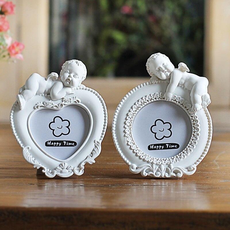 Quadro Mini Imagem Para Casa Casamento Decoração da Forma Do Coração Branco Molduras Cupido Tipo Linda Foto Qualidade do Quadro de Resina Portaretrato