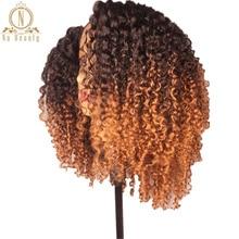 Perruque Lace Front Wig crépus naturelle Remy-Nabeauty   Cheveux humains crépus bouclés, ombré, 13x6, 150 de densité, perruque Bob pour femmes africaines