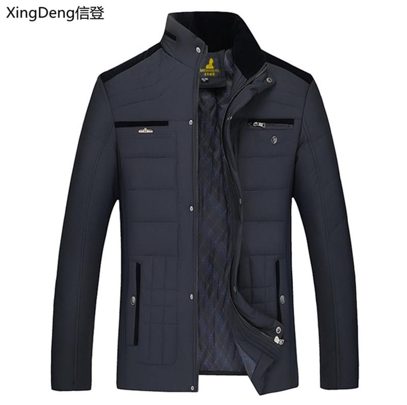 XingDeng 2020 nueva chaqueta de la marca de nieve caliente de moda de algodón chaquetas de invierno de los hombres Casual prendas de vestir exteriores Collar top abrigo Parkas de gran tamaño