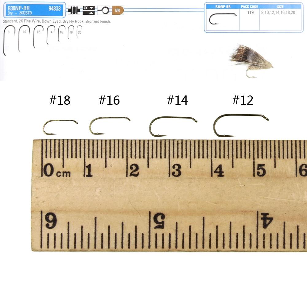 Bimoo 20PS 2X alambre fino ojo abajo estándar seco mosca gancho bronce acabado afilado seco atado de moscas gancho para Caddis moscas tamaño 12 14 16 18