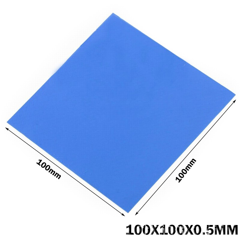 100Pcs Gdstime Bule 0.5mm thickness thermal Pad 100*100*0.5mm Silicone Thermal Pad Laptop Computer CPU Graphics Card Chip He