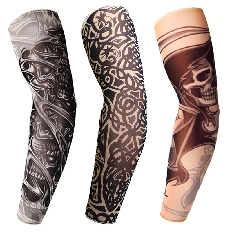 wholesale 1pcs arm warmers cycling sleeves manga tattoo sleeve printed uv protection mtb bike bicycle arm protection ridding 3D Tattoo Printed Outdoor Cycling Sleeves Armwarmer UV Protection MTB Bike Bicycle Sleeves Arm Protection Ridding Arm Sleeves