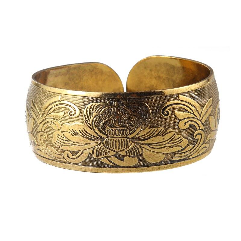 Античный бронзовый тон Цыганский металлический резной цветок слон манжеты браслеты и браслеты для женщин ювелирные изделия подарок
