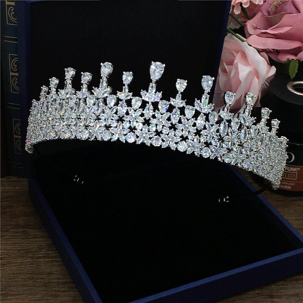 Zircon Large Wedding Crown Headband Tiara Noiva Tiaras And Crowns Jewelry Bridal Hair Accessories Diademe Bijoux Corona WIGO1362