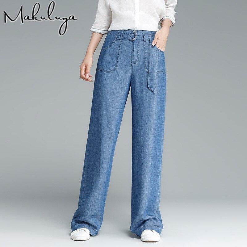 Makuluya verano otoño primavera moda mujer casual Denim Pantalones vaqueros de pierna ancha Pantalones vaqueros de Tencel femenino encaje hasta la cintura Vintage cinturón L6