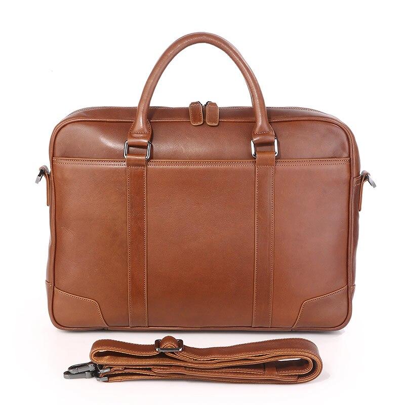 J. M. D100 % cuero genuino bolso de mano para ordenador portátil para hombre bolso marrón para mujer 7349B