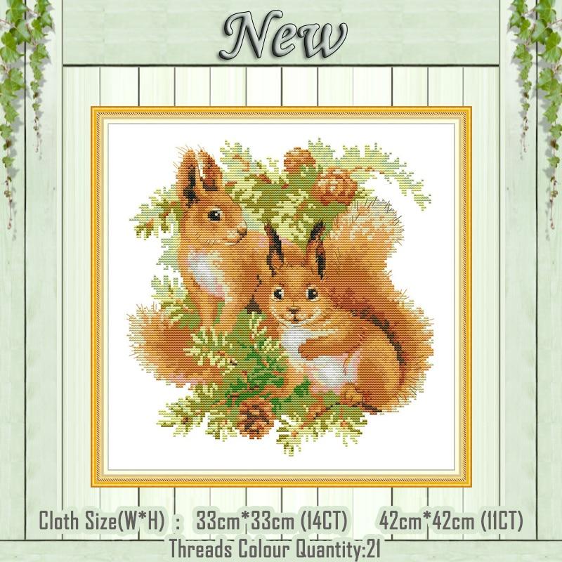 Dos ardillas dibujos animados decoración de animales pintura contada impresa en lienzo DMC 11CT 14CT kits de punto de cruz bordado juegos de costura