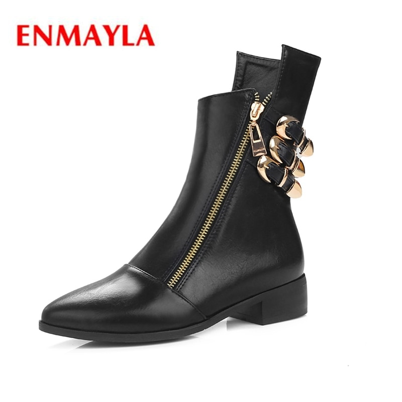 ENMAYLA  Fashion women pointed toe square heel zip buckle boots lady casual ankle Big size 34-43 ZYL378