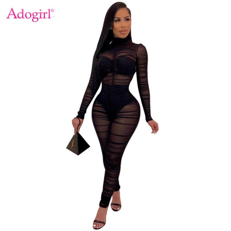 Женский сетчатый комбинезон Adogirl, сексуальный черный комбинезон из прозрачной ткани с рюшами, высоким воротом и длинными рукавами, Облегающ...