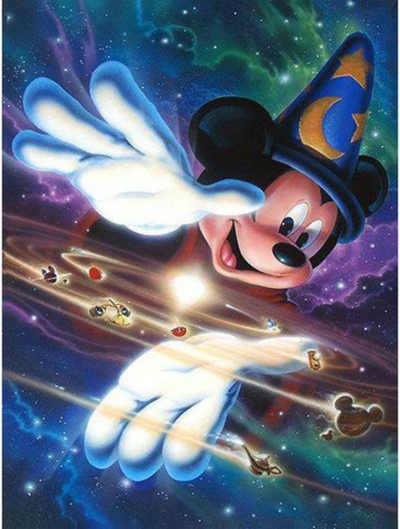 5D bricolaje diamante bordado dibujos animados icono redondo diamante pintura punto de cruz Mickey mouse rompecabezas Diamante de imitación decoración del hogar