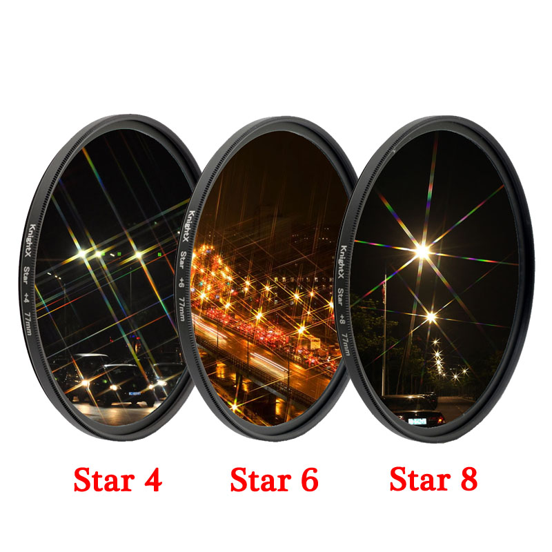 KnightX Star Line 52MM 55MM 58MM 67MM 77MM Camera Lens Filter For canon eos sony nikon d3300 400d 18-135 d5100 photo photography