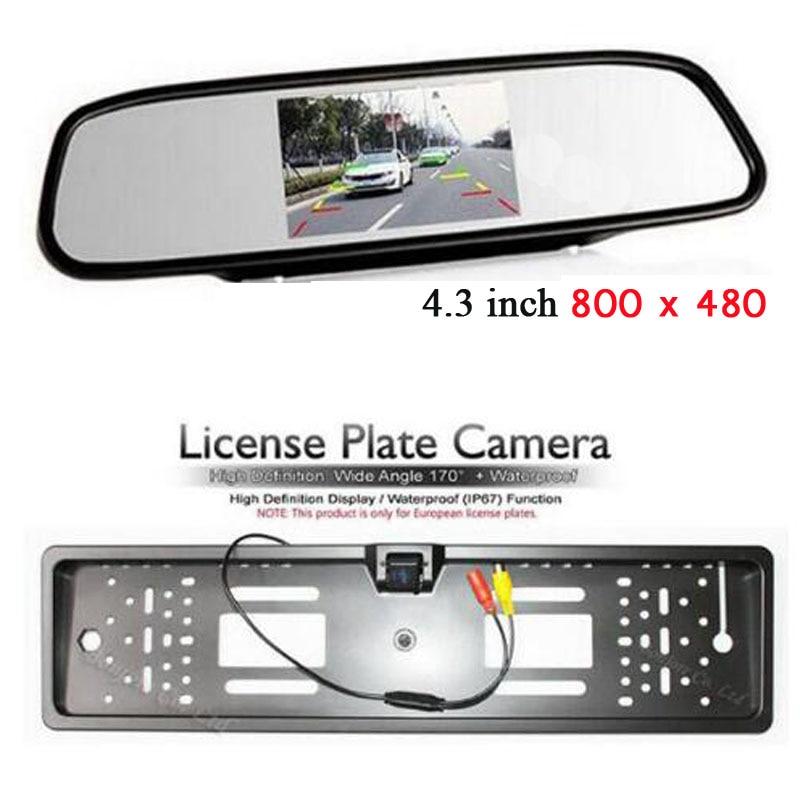Auto Europa/RU marco para matrícula Cámara retrovisor con aparcamiento vehículo 4,3 colorido LCD Monitor de espejo retrovisor