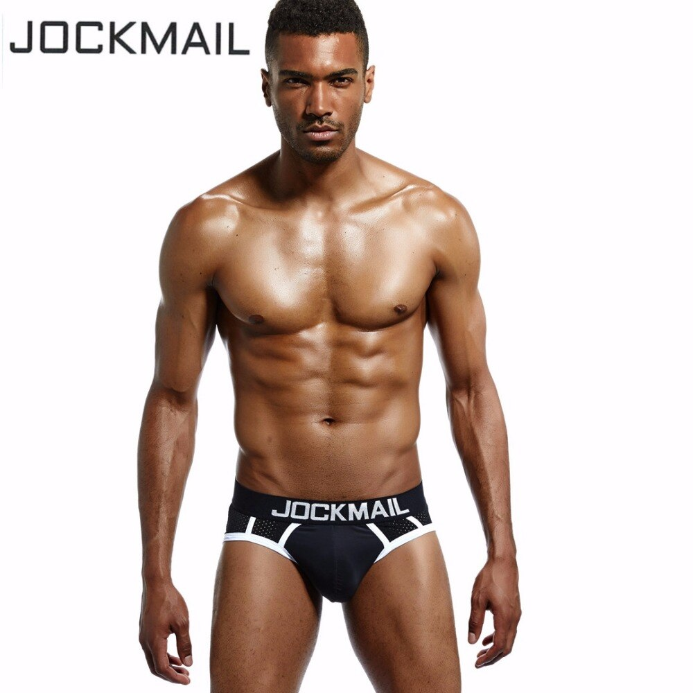 JOCKMAIL brand Mesh Men Underwear/Briefs High Elasticity Sexy Hollow Mesh Shorts Gay Sleepwear Man Pants Quick Drying Breathable