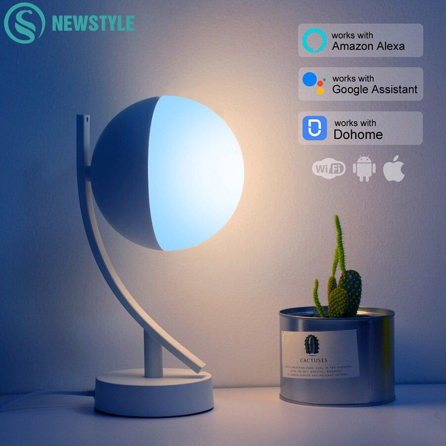 مصباح مكتب RGB LED ، مصباح طاولة 7 وات مع تحكم صوتي ذكي ، تطبيق WiFi ، جهاز تحكم عن بعد ، مصباح طاولة غرفة نوم قابل للتعتيم ، يعمل مع Alexa و Google Home