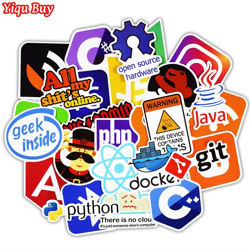 50 Pcs Java Internet JS Php Docker Bitcoin Html Cloud Programming Language APP Logo Funny Stickers for Laptop Car DIY Stickers