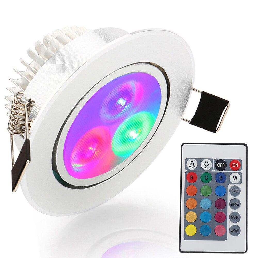 1 luz LED de techo RGB, roja, azul, verde, luz AC85-265V, lámpara empotrable de techo, iluminación decorativa