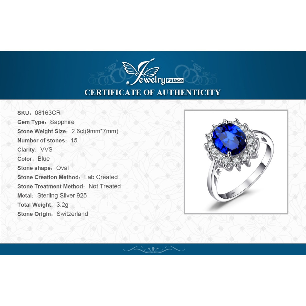 Купить с кэшбэком JewelryPalace Princess Diana Created Blue Sapphire Engagement Ring for Women Kate Middleton Crown 925 Sterling Silver Ring